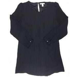 Forever 21 Pleated Long Sleeve Black Short Dress
